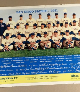 San Diego Padres 1951 Team Photo