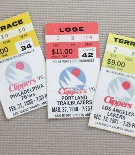 San Diego Clippers 1980-81 Ticket Stubs