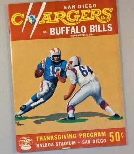 San Diego Chargers 1964 Thanksgiving Day Game Program