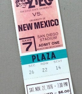SDSU vs New Mexico 1976 Ticket