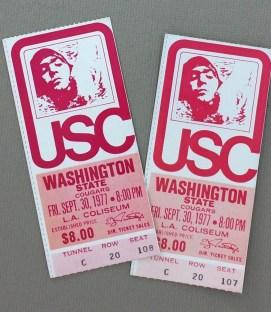 USC WSU 1977 Ticket Stubs