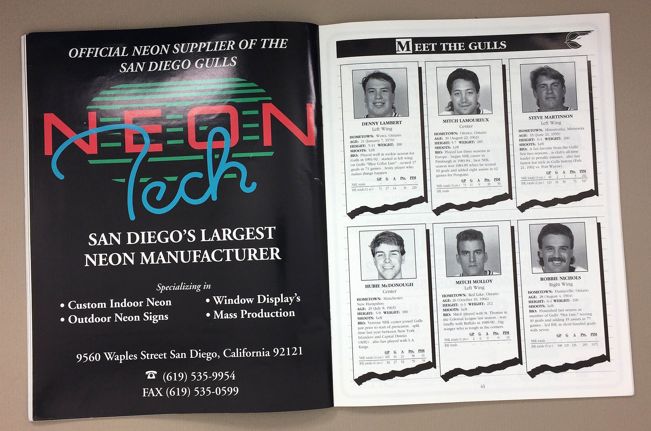 San Diego Gulls 1992 93 Program