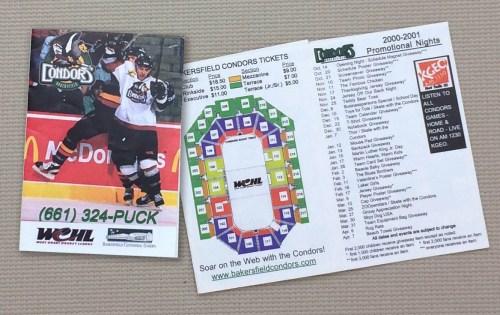 Bakersfield Condors 2001-02 Schedule