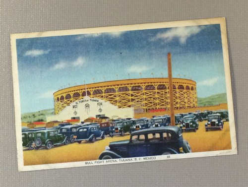 1939 Litho Postcard of the Bull Fight Arena in Tijuana, MX