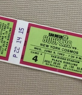 San Diego Sockers 1983 Cosmos Ticket