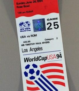 World Cup '94 USA vs Romania Ticket