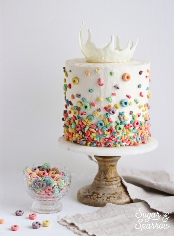 cereal cake with white chocolate milk splash by Sugar and Sparrow