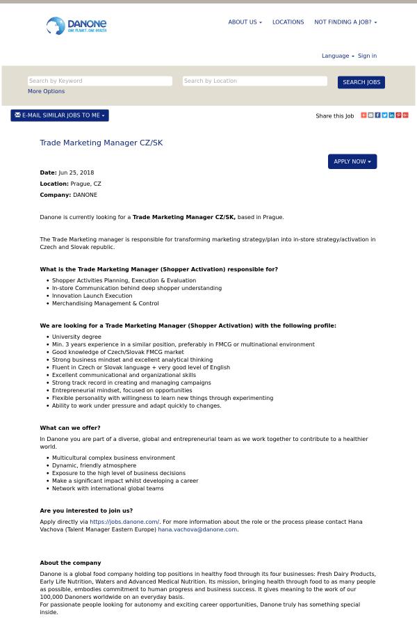 Trade Marketing Manager CZ / SK job at Danone in Prague, Czech ...