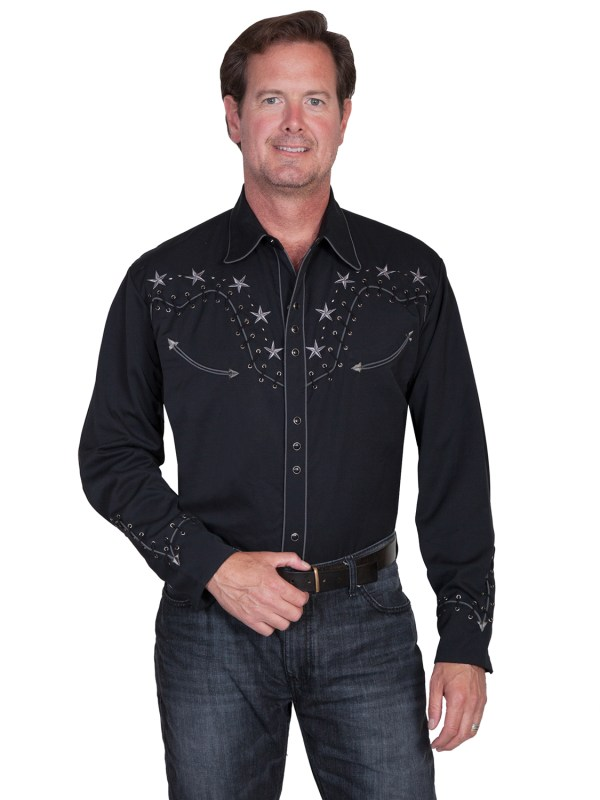 Scully Western Mens Black Polyester L Star Stud