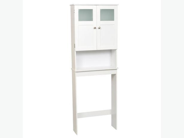 Bathroom White Storage Cabinet behind toilet South