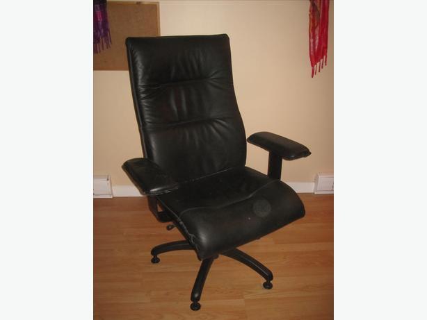 Sleek black leather office chair Saanich Victoria