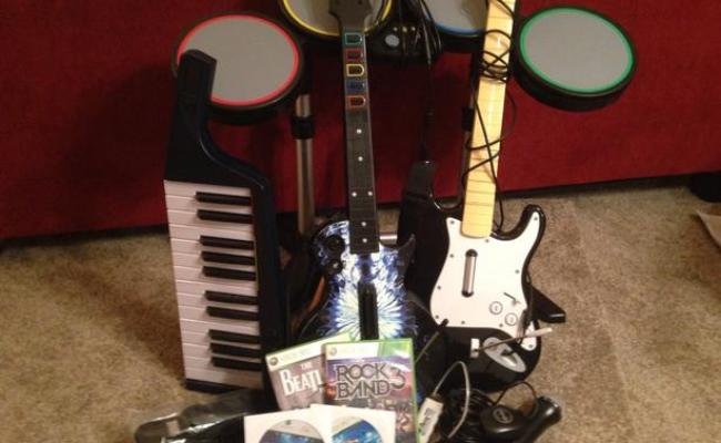 Rock Band Set For Xbox All Instruments Including