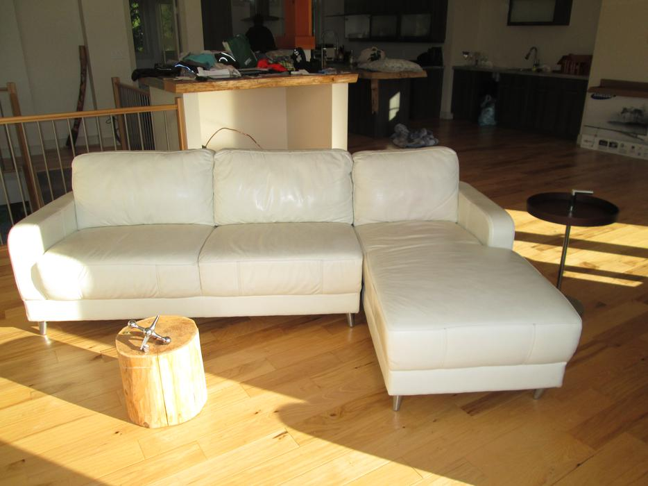 leather sofa repair london ontario how much does it cost to get a reupholstered uk best house interior today white genuine californian l shaped couch furniture