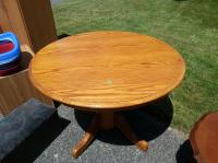 Round Oak Kitchen Table with Leaf Central Saanich ...