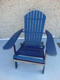 Folding Wood Adirondack Anorak Patio Deck Navy Blue Chair ...
