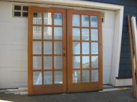 Solid fir exterior french doors with frame. Saanich, Victoria