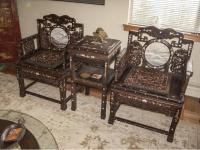 Pair Of Antique Chinese Rosewood Throne Chairs and Tea ...