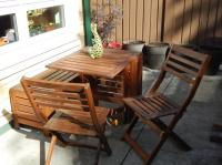 Ikea Applaro Patio Table, 2 chairs and storage bench ...