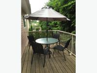 Deck/Patio Table, Chairs and Umbrella with stand