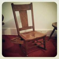 Antique Mission Style Oak Rocking Chair With Sewing Drawer