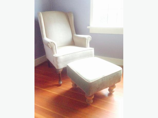 Blush pink chair and green ottoman Oak Bay, Victoria