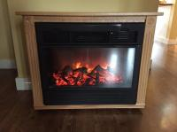 Heat Surge Amish electric fireplace heater in blond oak ...