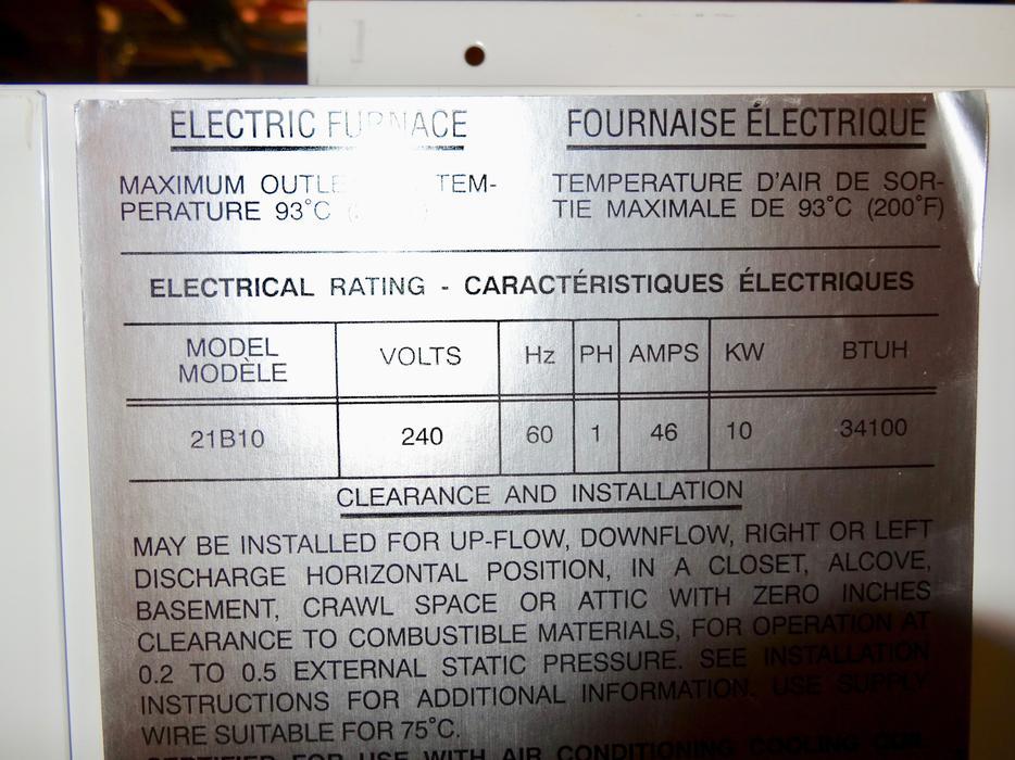 Nortron (Broan) 10K Electric Furnace Model 21B10 North