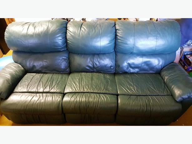 dark green leather sofa delaney sleeper by dhp with reclining ends crofton cowichan