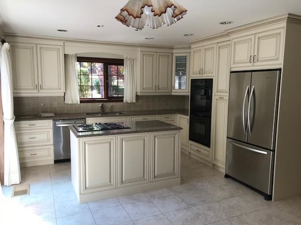 end kitchen cabinet carts with seating high cabinets granite countertops cooktop amp double wall oven