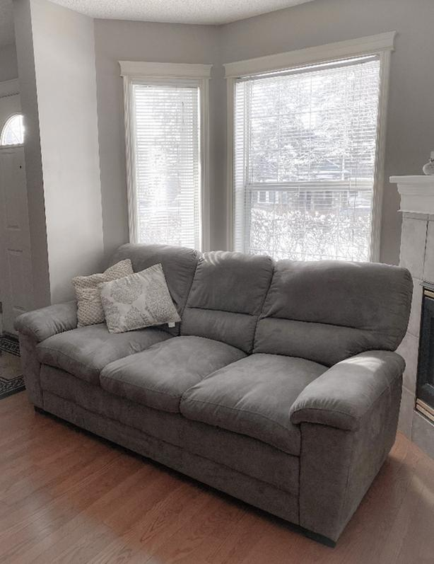 grey suede sofa
