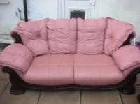 3+1 PINK LEATHER SOFA FOR SALE DUDLEY, Sandwell