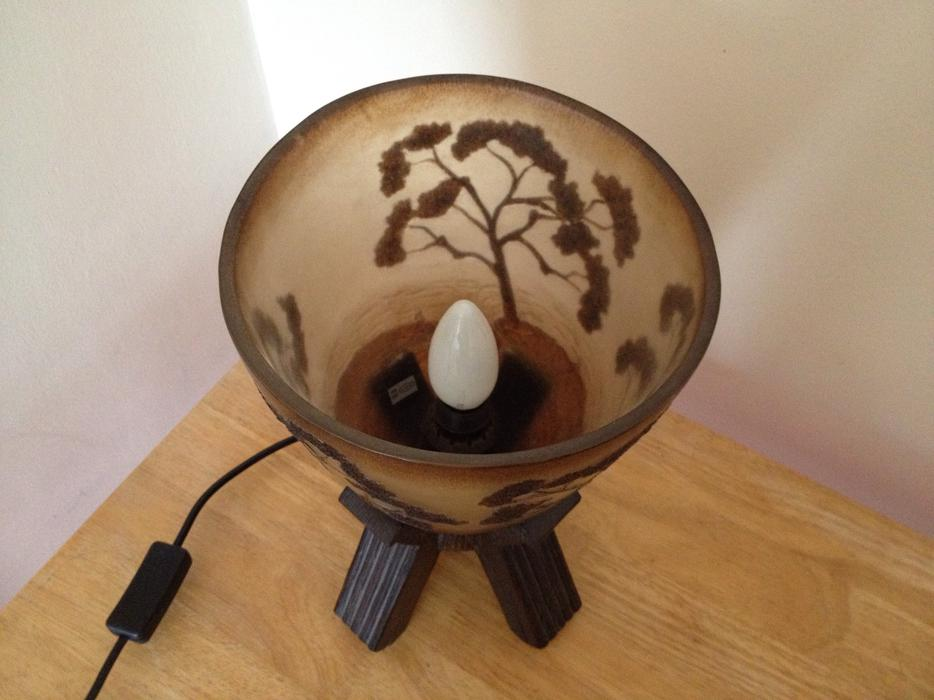 Table Lamp Light Switch African Style Tree Brown Bowl