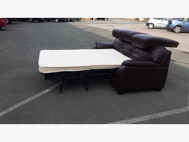 moods 3 seater leather sofa bed wooden set latest design ex display brown outside birmingham