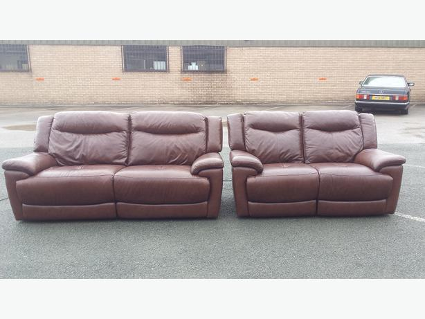 modena 2 seater reclining leather sofa ashley furniture yvette review ex display brown electric recliner 3 sofas