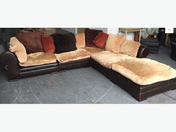 duck feather corner sofa chesterfield linen sectional dfs hemmingway huge with filled cushions we deliver