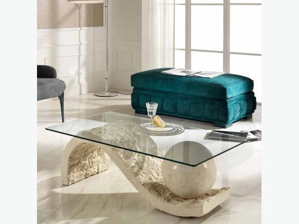 italian square glass cream rock table