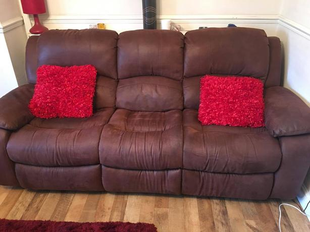 dfs sofas that come apart sofa cleaning machine hire brown 3 + 2 reclining walsall, dudley