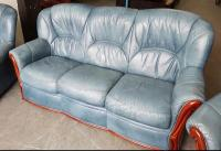 Chesterfield Style Baby Blue Italian Leather Sofa. WE
