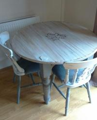 Beautiful upcycled shabby chic dining table and chairs ...