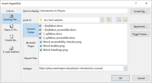 small resolution of screenshot of the hyperlink dialogue box