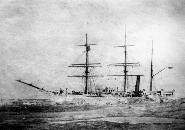 black and white photo of ship