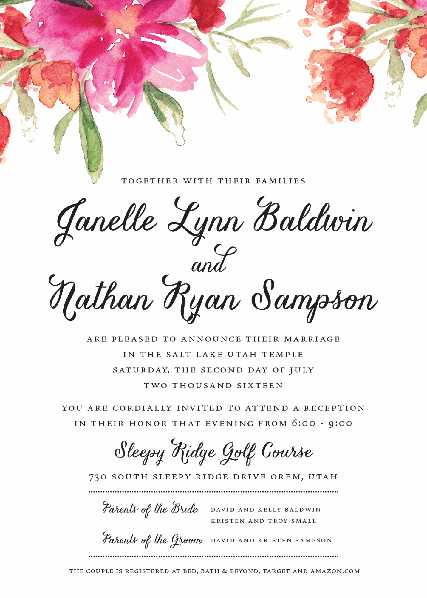 Layout Wedding Invitation Sample