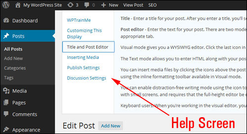 Your WordPress Control Screen Explained