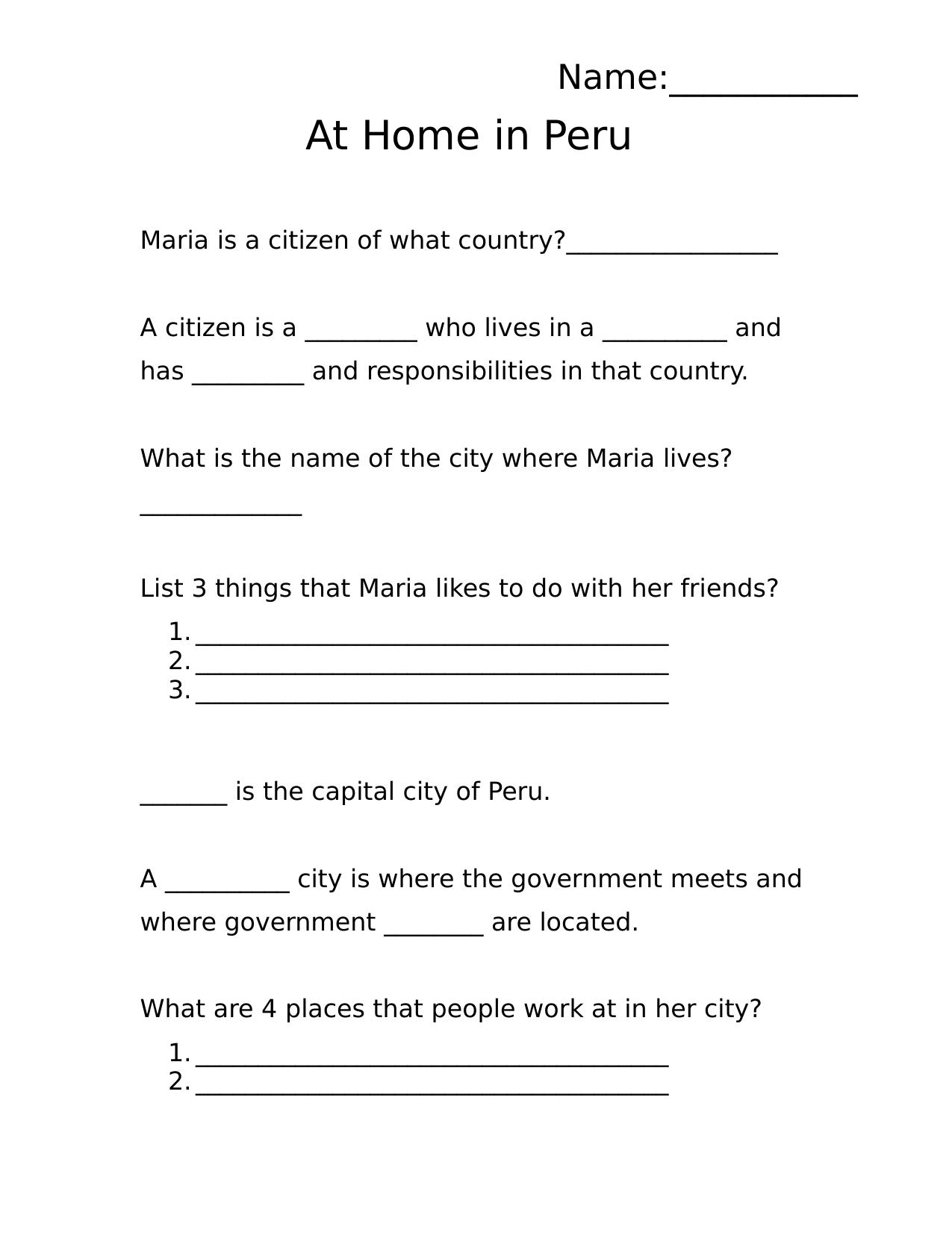 Worksheet Grade 1 Social Stu S