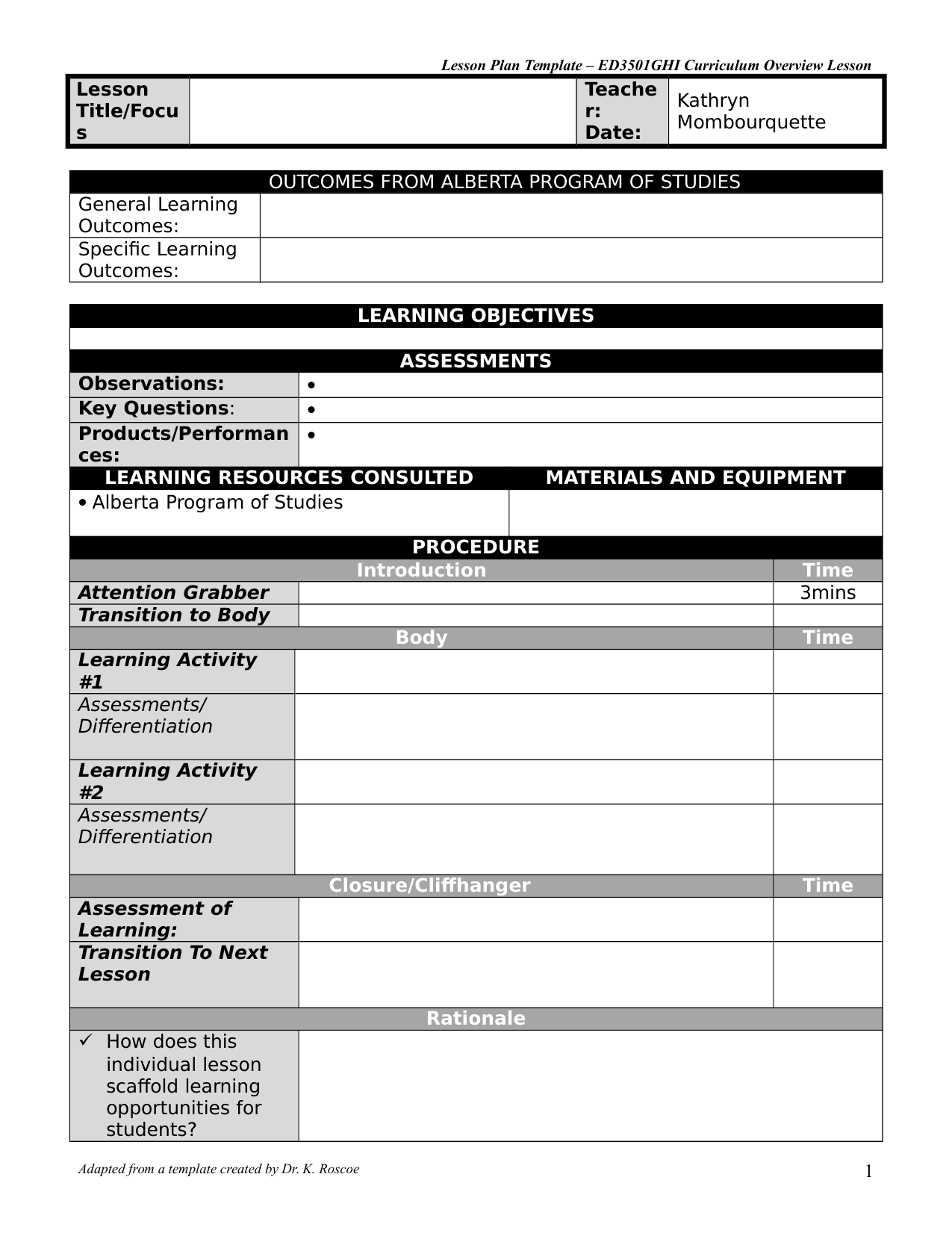 hight resolution of LESSON PLAN TEMPLATE by kathrynm · Ninja Plans