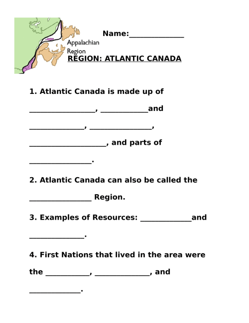 small resolution of Regions of Canada the Atlantic Worksheet pt 2 by bbauer · Ninja Plans