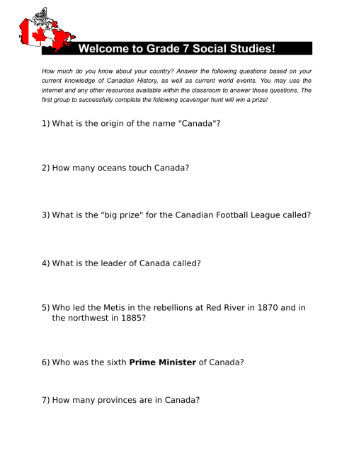 small resolution of Canadian History Scavenger Hunt by joestro · Ninja Plans