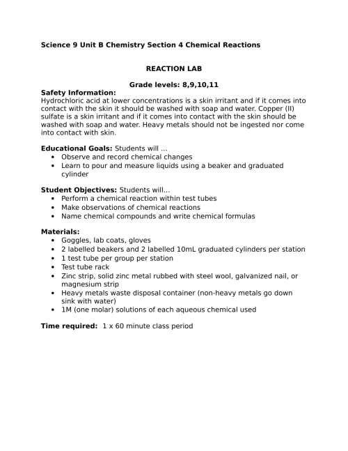 small resolution of Science Observing Chemical Reactions High School Lab by gracemartin · Ninja  Plans