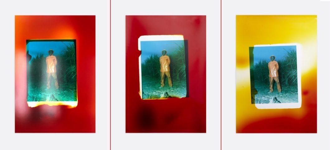 three photos of a man in an orange rain suit