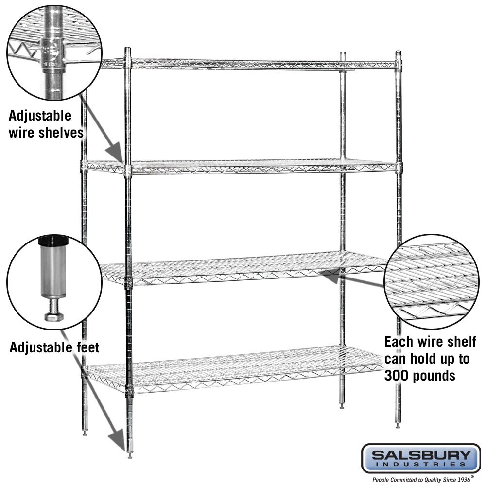 Salsbury Industries Stationary Wire Shelving Unit, 48